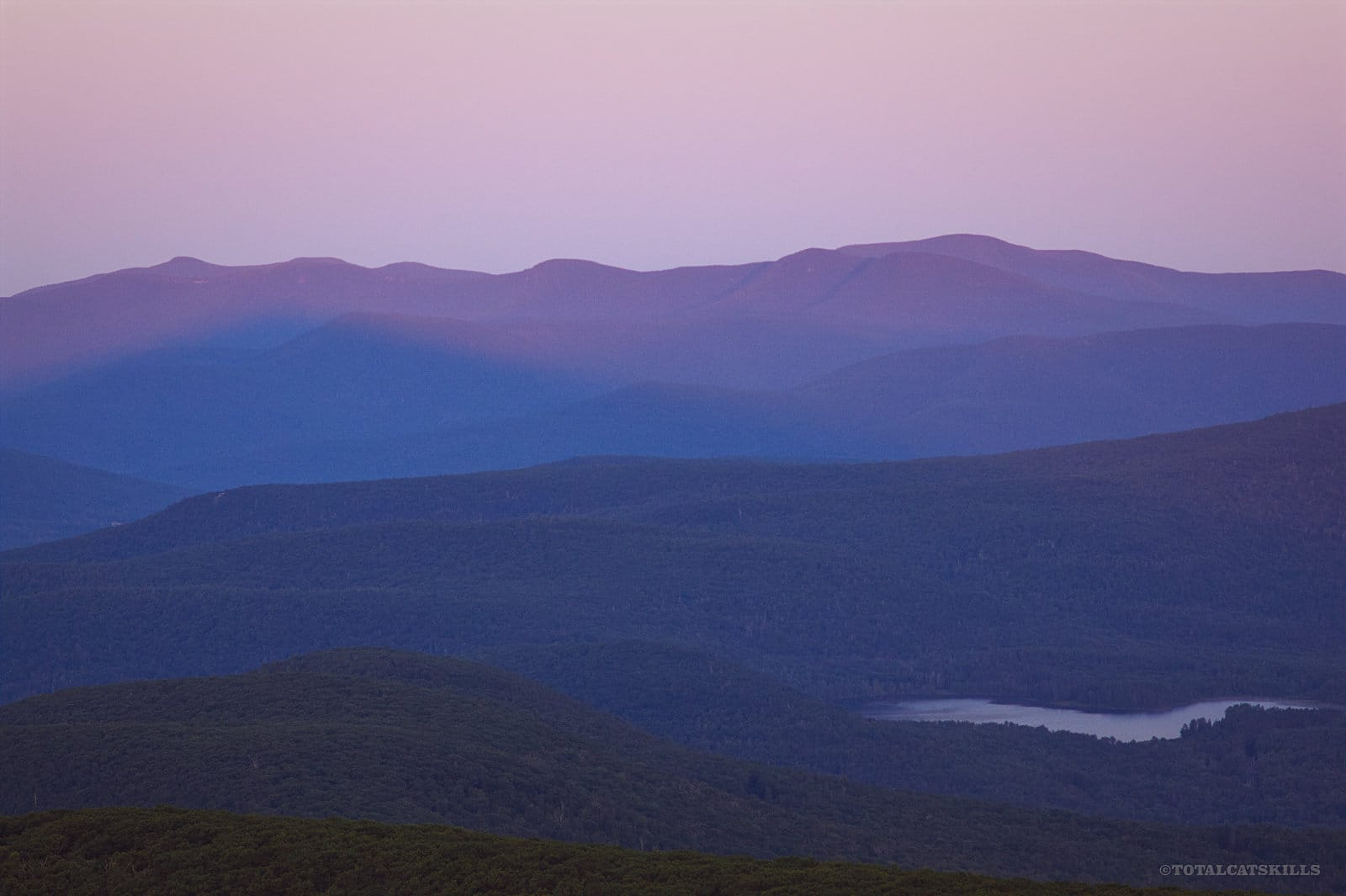 early morning light on mountain ranges