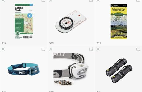 screenshot of hiking gear products