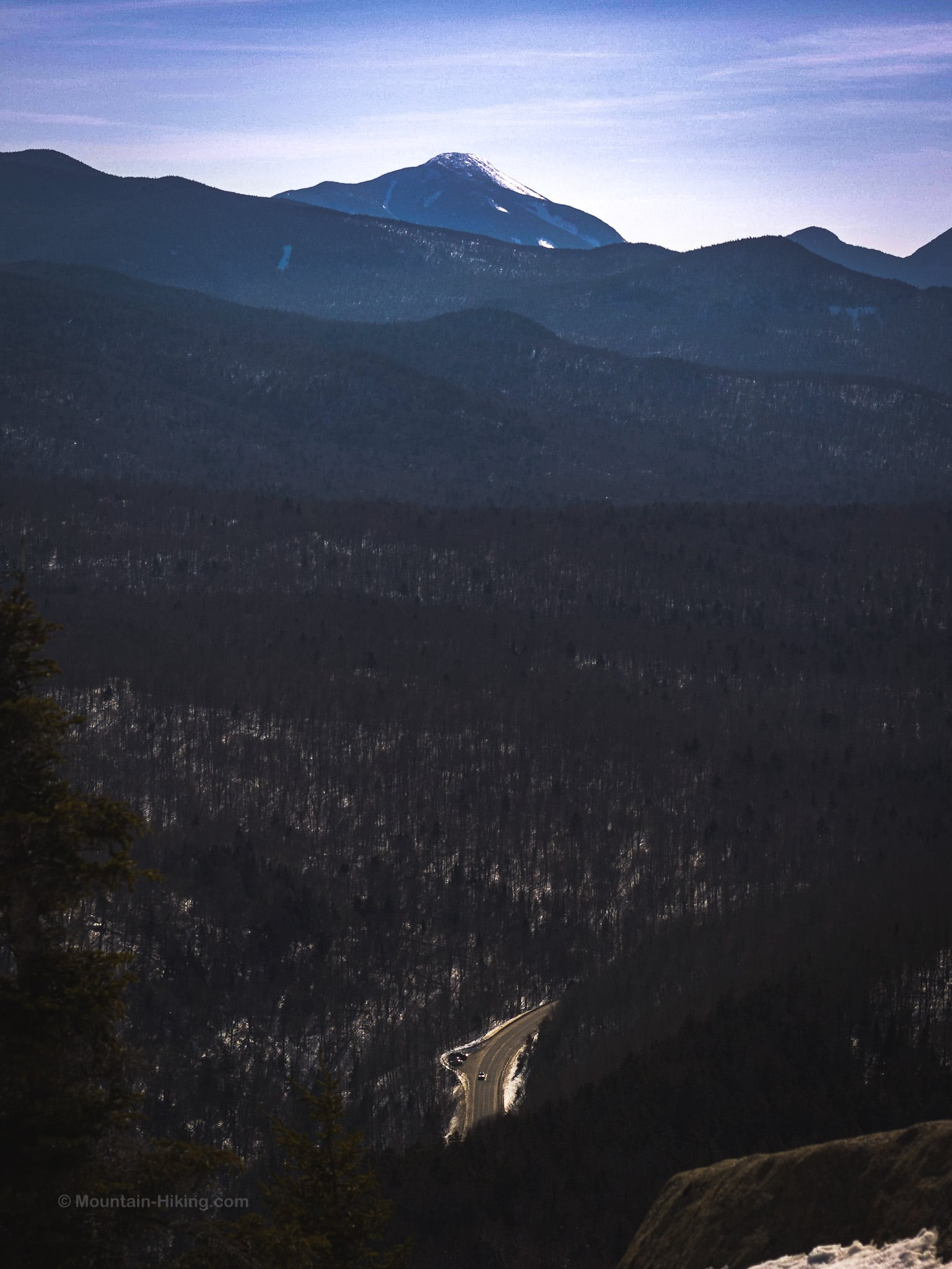 Mount Colden's summit seen from just beyond balanced rocks