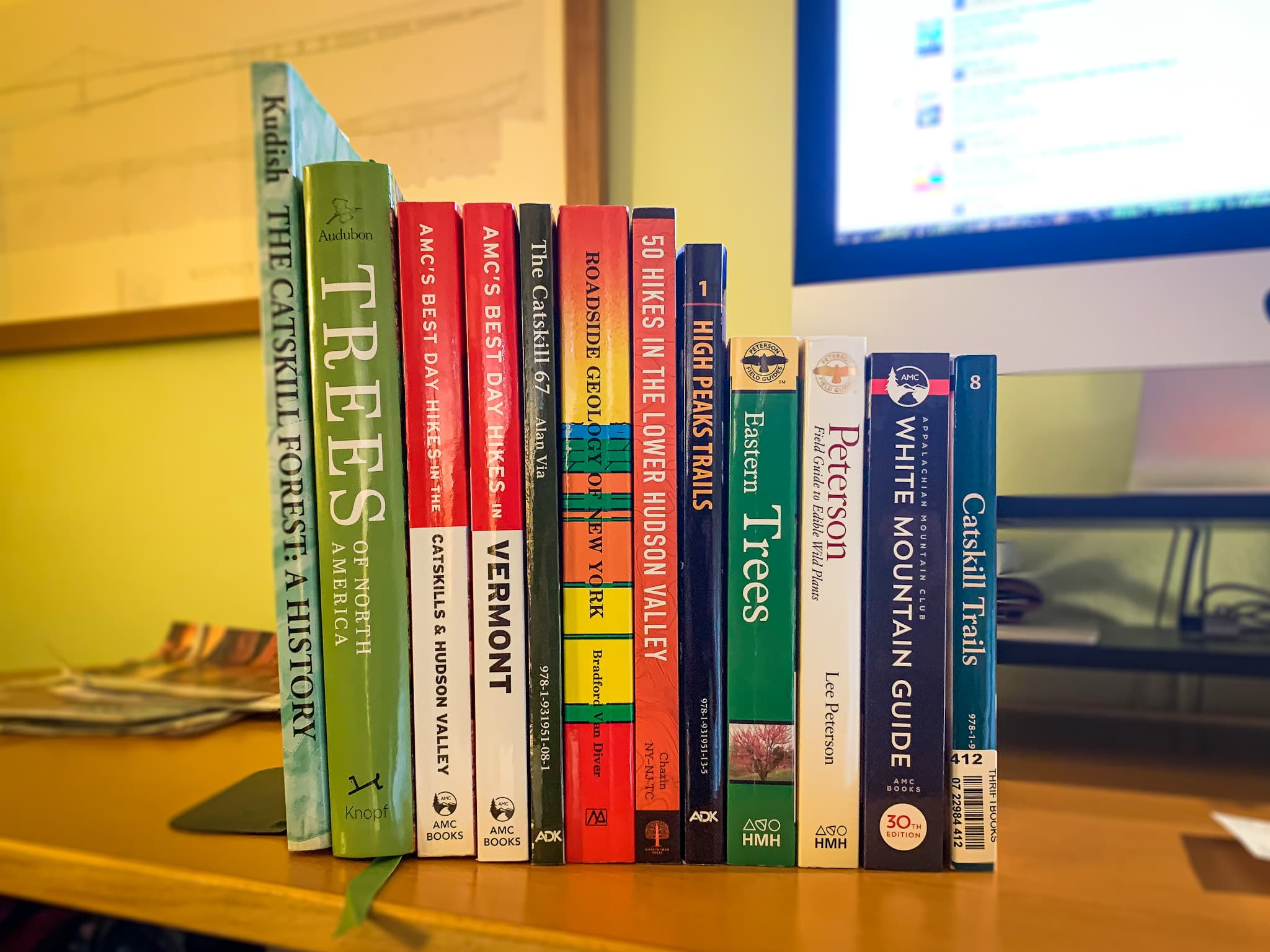 small library of hiking books